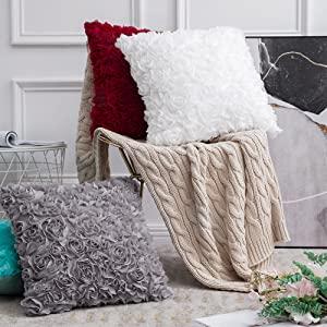 decorative throw pillow covers white romantic rose flower floral 3D accent decor valentine
