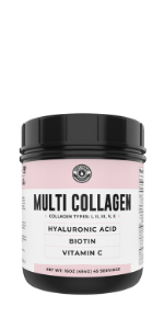 Multi Collagen Powder with Biotin, Vitamin C, Hyaluronic Acid