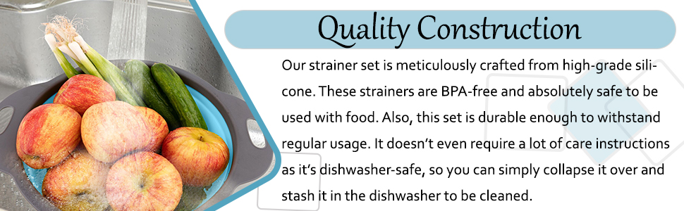Over the sink silicone colanders