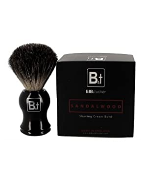 sandalwood brush and cream kit pure badger hair mens shaving bib and tucker brand