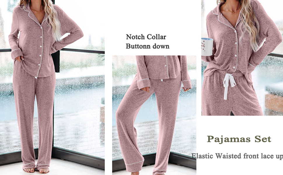 Lounge nigh sleepingwear pajamas sets for wmen notch collar