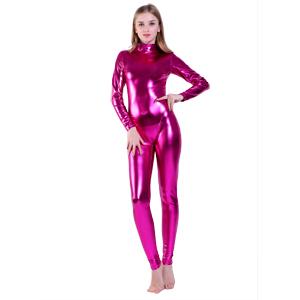 Long Sleeve Unitard Bodysuit shiny metallic spandex
