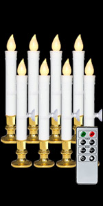 8 Pack Flameless Window Candles Gold Holders