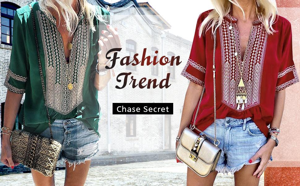 Embroidered V Neck Short Sleeve Tunic Shirt Summer Blouse Tops