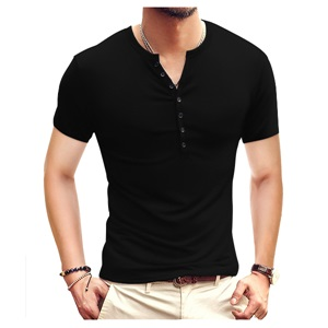 YTD Mens Casual Slim Fit Basic Henley Short Sleeve Fashion Summer T-Shirt