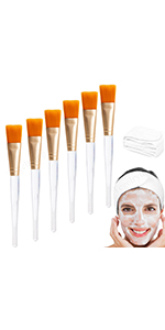 Facial Brush 6 Pcs Gold,With 2 Pieces White Spa Headband