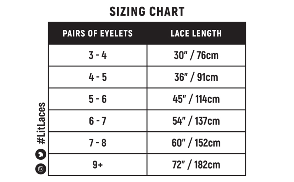 litlaces sizing