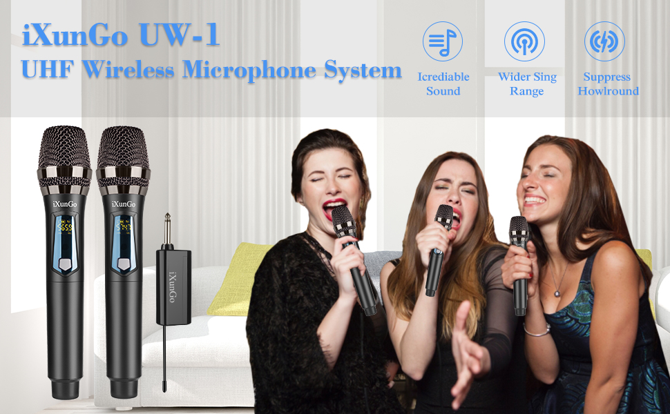 Wireless Handheld Mic System Set with Rechargeable Receiver, 200ft Range,for Karaoke,Voice Amplifier