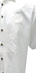 white floral embroidered western shirt tropical bamboo cay