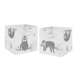 Pink and Grey Jungle Sloth Leaf Foldable Fabric Storage Cube Bins Boxes Organizer Toys Kids Baby