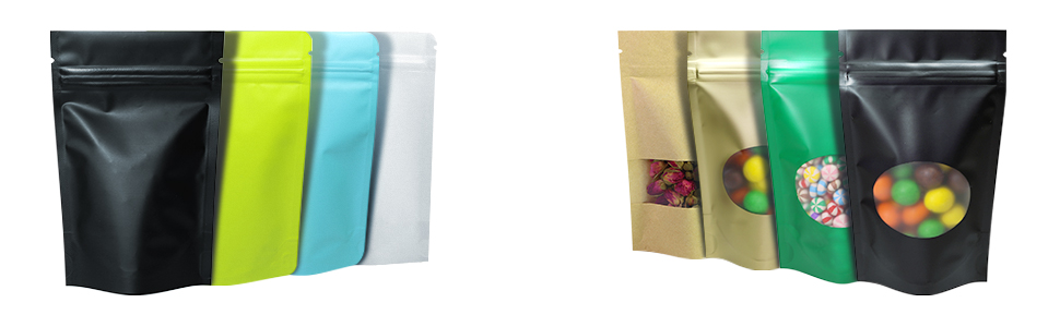 double sided window transparent stand up bags