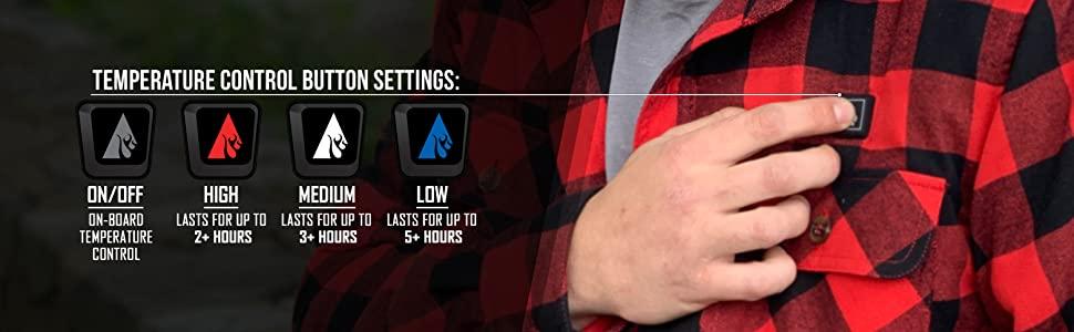 ActionHeat Outerwear, Battery, Temperature Levels,
