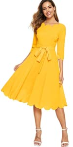 Belted Fit & Flare Midi Party Dress