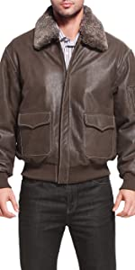 Landing Leathers Men's Alex Distressed Brown Cowhide Leather Aviator Flight Jacket