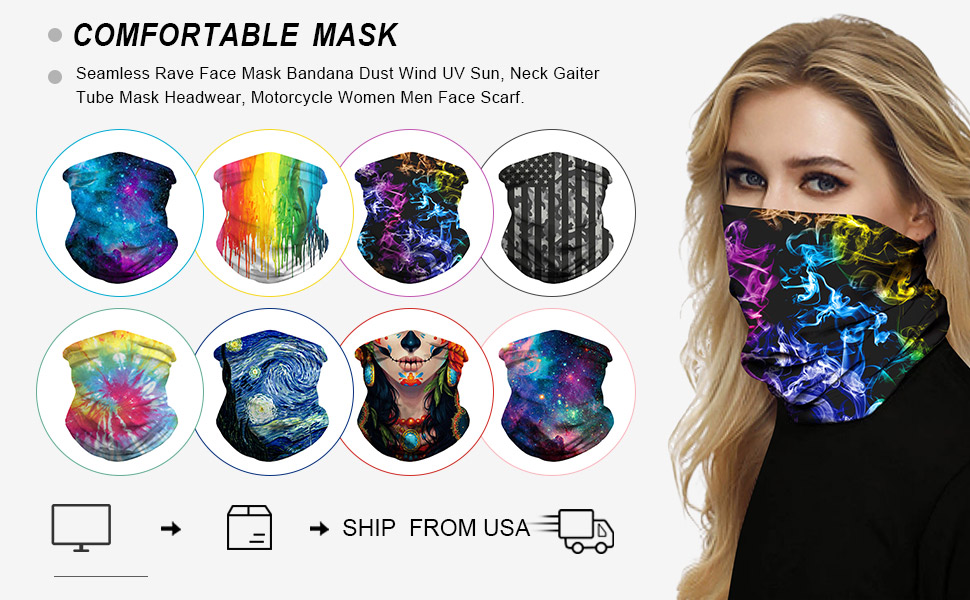 Riding Dust Multifunctional Headwear Seamless Bandana Breathable Sports Fan Masks Headband Neck Gaiter for Outdoor