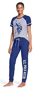 U.S Polo Assn Long Sleeve Shirt and Cuffed Pajama Pants Loungewear Set Womens Pajamas Set with Pockets