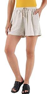 Women's Casual Elastic Plus Size Cotton Linen Short
