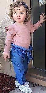 Long Sleeve Ruffle Knit Romper Denim Pants Outfits Sets