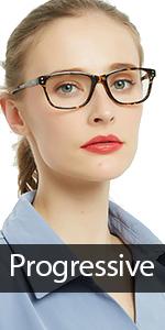 Progressive Multifocus Women Rectangle Reading Glasses Anti Blue Light Reader Spring Hinges