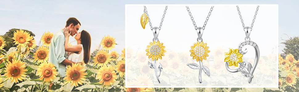 heart sunflower necklace