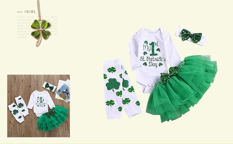 Baby Girl My 1st ST Patrick's Day Green Bodysuit Tutu Headband Outfit Set …