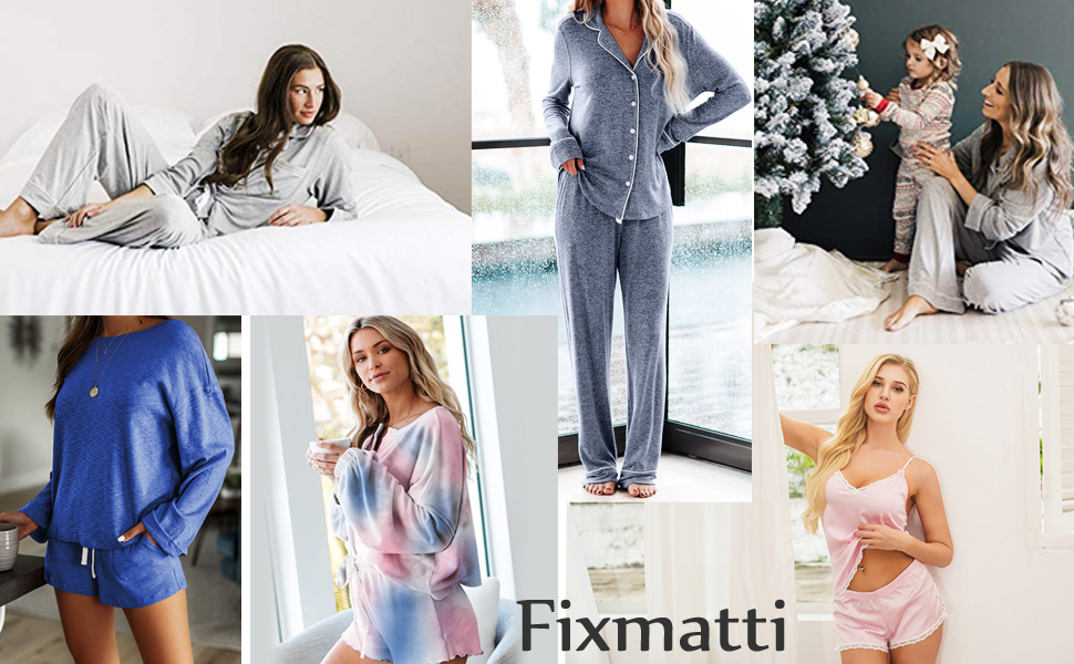 Fixmatti women pajamas set 2 piece lounge night sleep wear