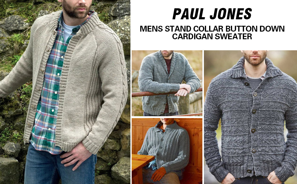 mens casual stand collar button down sweater twisted cable knit cardigan sweaters long sleeve men