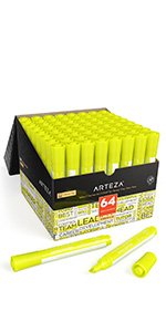 ARTZ-8561_Highlighters_Set of 64 (Wide Chisel Tip, Yellow)