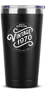 1970 50th Birthday Gifts for Women Men - 16 oz Black Insulated Stainless Steel Tumbler w/Lid