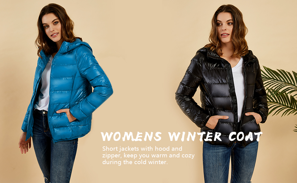 Womens down jackets lightweight full-zip hood coats warm thermal chunky cozy comfy outwears