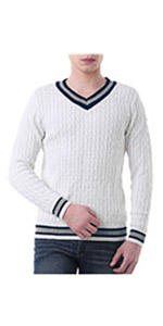 V Neck Cable Pullover Sweater