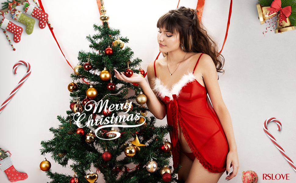 RSLOVE Women's Santa Lingerie Set Christmas Babydoll Strap Chemises Outfit Lace Sleepwear