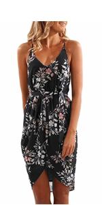 v neck summer beach dress