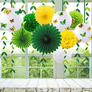 paper lanterns paper pom poms paper fans paper fan paper fans party decorations