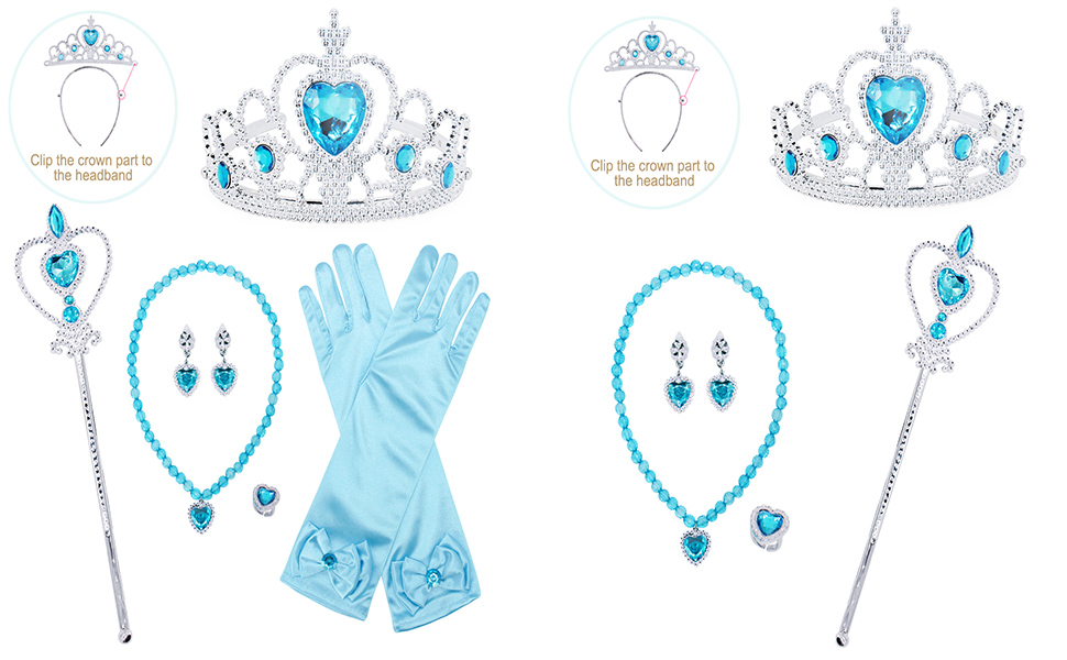 Jewelry Accessories for dressing up costume dress blue for little girls HG022+