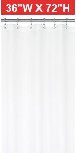 36x72 waterproof shower curtain liner