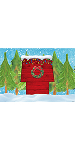 Christmas Red House Backdrop