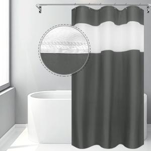 Eforgift Polyester White Mesh Window Patchwork Shower Curtain