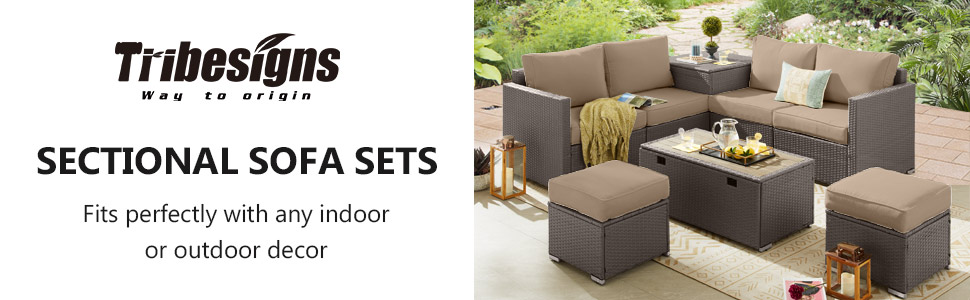 Patio Furniture Sets 6 Pieces Outdoor Sectional Rattan Sofa All-Weather Manual Weaving Wicker Patio