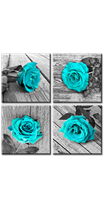 big flower close up romance valentine's day elegantes turquoise printed modern decor paint bedroom