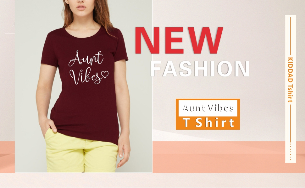 omen's Aunt Vibes Love Heart Print T-Shirt Casual Short Sleeve Aunt Gifts Tee Tops