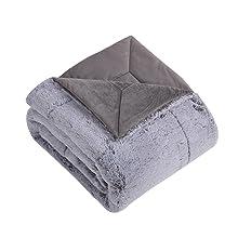 folded real fur blanket warm cozy soft plush polyester silk brushed
