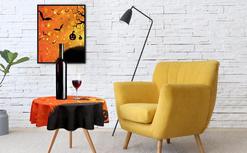 evil night halloween round table cloth