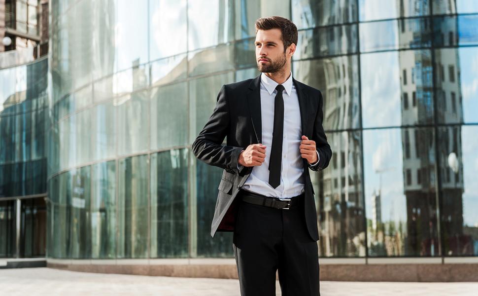 CIEORA Black Belts for Men Fashion Automatic Ratchet Design