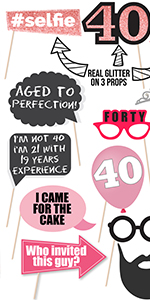 40th Birthday Photo Props Party Decorations supplies 1980 1979 Birthday Gifts for Women BFF Coworker