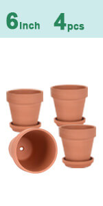 4pcs 6 inch clay pots
