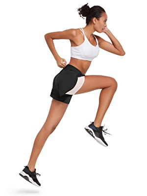 BALEAF Women's 2 in 1 Running Workout Shorts with Liner Sport Shorts Yoga Gym Athletic Inner Pockets