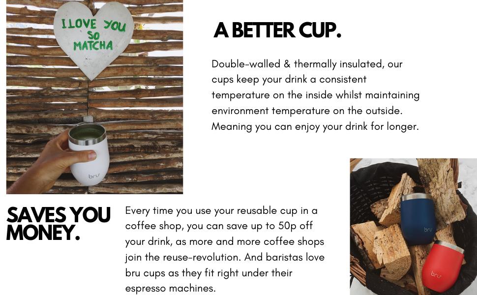 reusable coffee cup bru travel mug