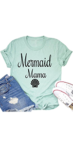 Women's Mermaid Mama Shell Graphic Funny T-Shirt Letter Print Short Sleeve Loose Mom Gift Mommy Top
