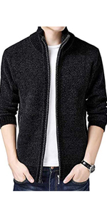 Casual Slim Full Zip Thick Knitted Cardigan Sweaters